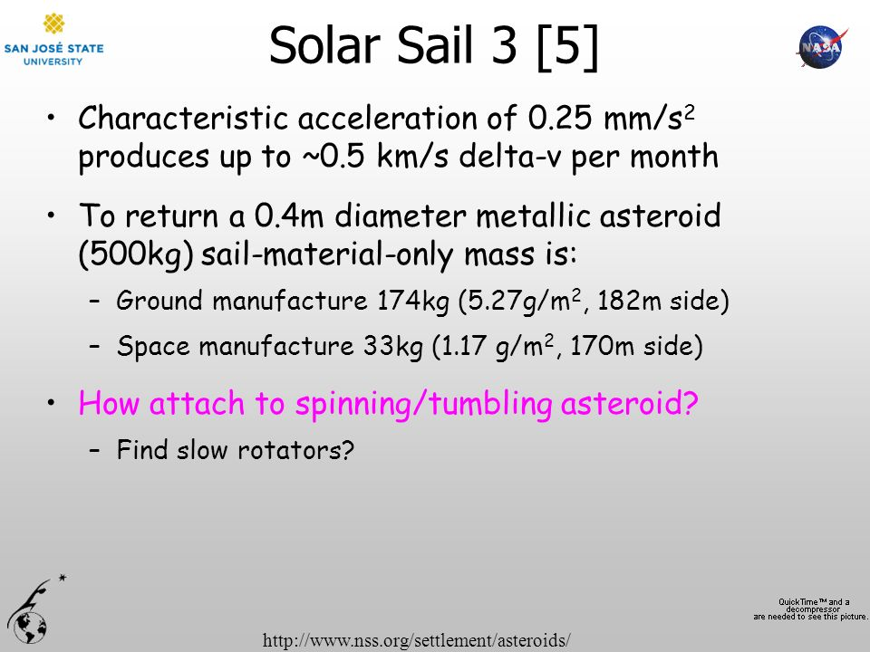 Solar Sail 3 [5] Characteristic acceleration of 0.25 mm/s2 produces up to ~0.5 km/s delta-v per month.